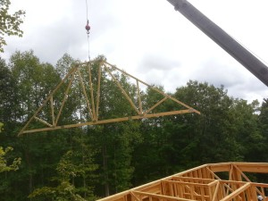 Asheville homebuilder truss crane