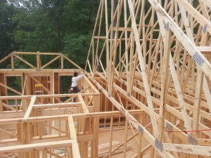 Corner Rock Building roof and trusses