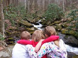 kids relaxing at Corner Rock Creek